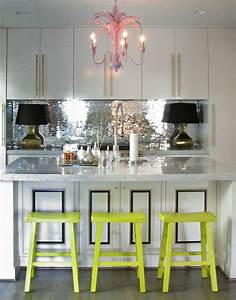 mirrored mosaic tile backsplash contemporary kitchen With what kind of paint to use on kitchen cabinets for palm frond wall art