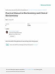 Practical Manual In Biochemistry And Clinical Biochemistry
