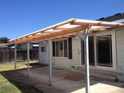 Exterior,simple Wood Awning With 4 Columns As Front Porch