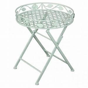 deko tisch mit einfassung rund metall weiss lackiert With französischer balkon mit garten accessoires shop