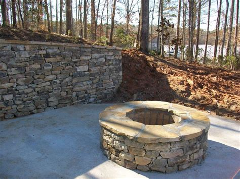 Stacked Stone Fire Pit  Fireplace Design Ideas