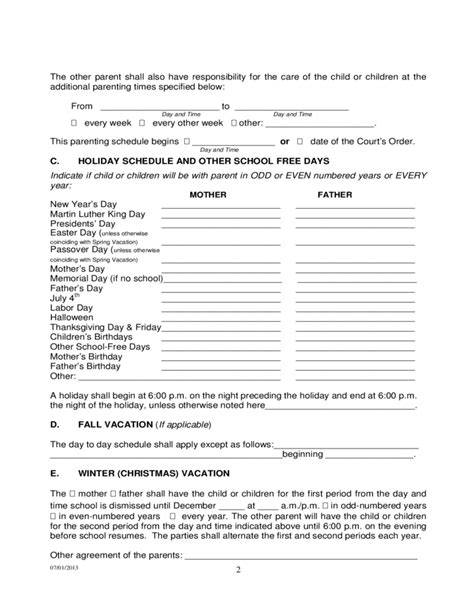 tennessee parenting plan form permanent parenting plan order tennessee free download