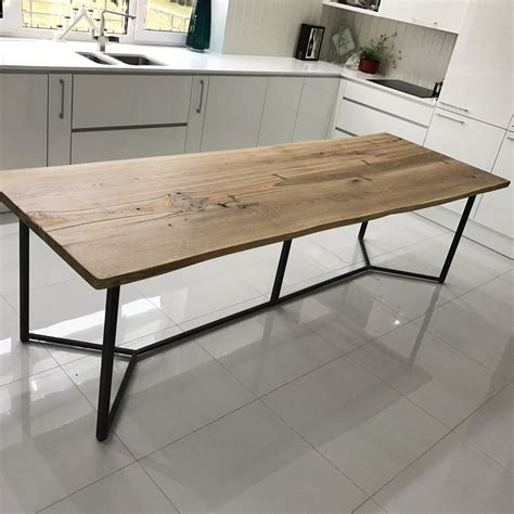 live edge console table with drawers solid live edge oak industrial dining table cosywood co uk