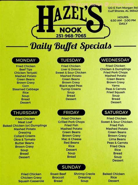 Nook Kitchen Menu by Menu Of Hazels Nook Restaurant Gulf Shores