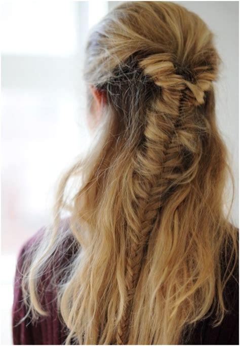 easy half fishtail braid braided hairstyles trends