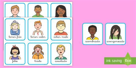 Tarjetas de vocabulario: Las emociones (teacher made)
