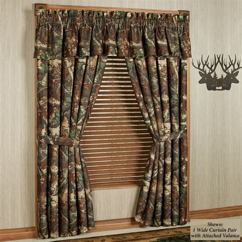oak camo camouflage curtains with valance