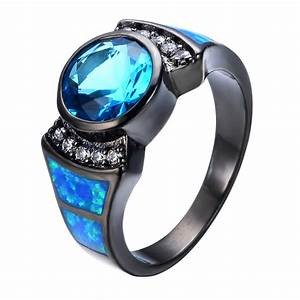 Women/Men Ring Anel Vintage Light Blue Stone Jewelry Blue ...