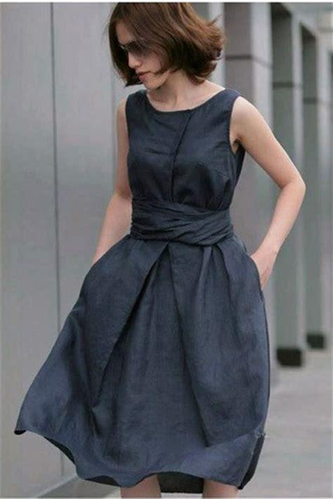 Pure Linen Sleeveless Pleated Boat Neck Dress [FXBI0041
