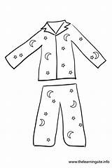 Pajama Outline Coloring Clothes Flashcard sketch template