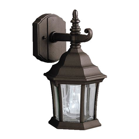 shop kichler townhouse 11 75 in h black outdoor wall light