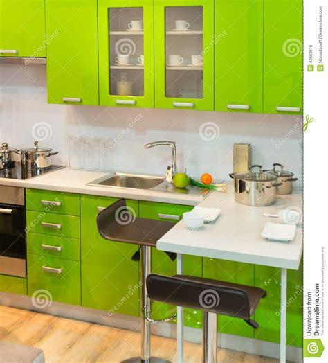 modern green kitchen modern green kitchen clean interior design stock photo 4202
