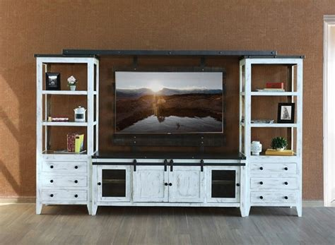 IFD Furniture   960 Antique White Rustic Entertainment
