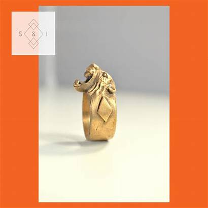 Ring Signet Bronze Lion Handmade Sculpted Solid