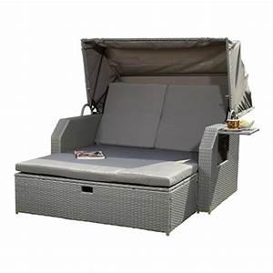 Rattan Lounge Mit Dach : polyrattan bett inkl sonnendach rattan sofa gartenliege loungeliege sonnenbett ebay ~ Bigdaddyawards.com Haus und Dekorationen