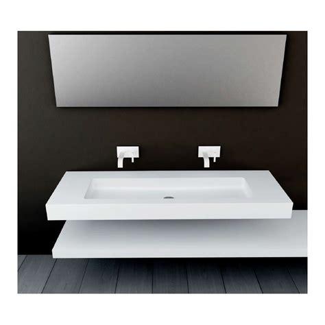 meuble sous evier cuisine 120 cm plan vasque mural blanc mat soho solid surface vasque xl