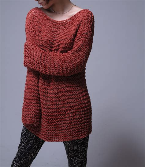 oversized sweater knit sweater eco cotton oversized sweater in brick