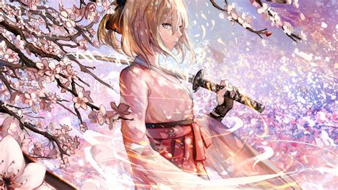 wallpaper sakura saber katana cherry