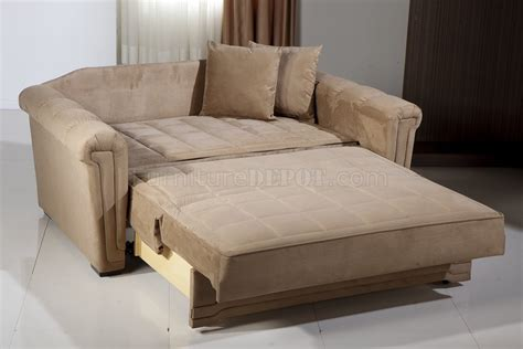 Loveseat With Bed by Beige Microfiber Modern Convertible Loveseat Bed W