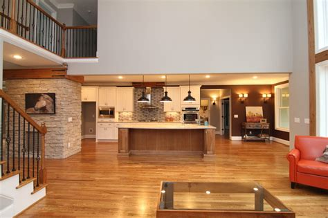 open two story great room rustic living room raleigh by stanton homes