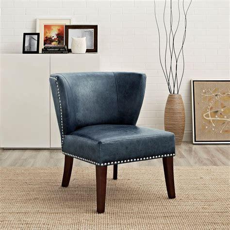 simpli home jamestown denim blue bonded leather accent
