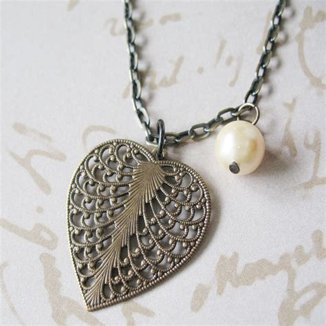 shabby chic jewellery heart leaf filigree necklace heart and pearl necklace shabby chic jewelry vintage inspired