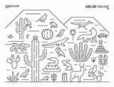 Coloring Desert Sonoran Biome Printable Biomes Map Fruit Solar Printables sketch template