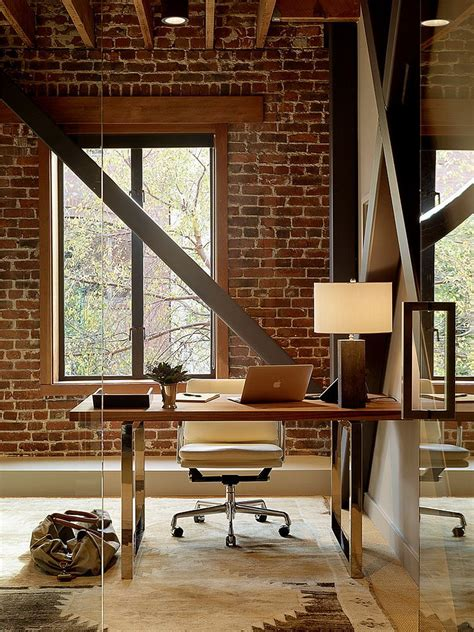 A Small Industrial Apartment With A Home Office Blue Decor by Trendy Textural 25 Home Offices With Brick Walls
