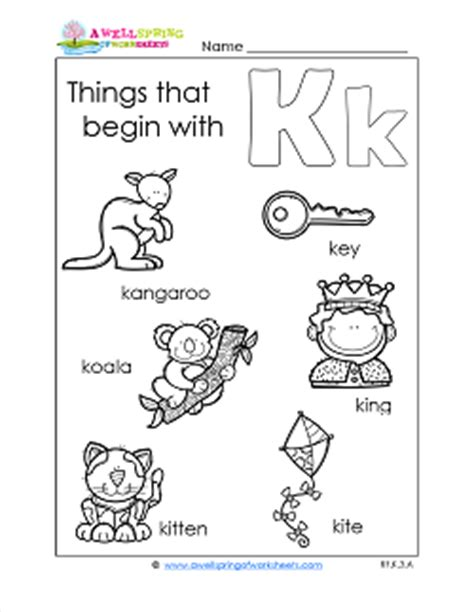 subject a wellspring of worksheets 204 | things that begin with k