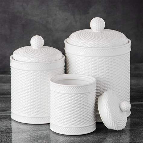 basket weave canister set kitchen counter accessory home