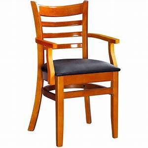 Ladder back wood chair with arms for Wooden chair arms