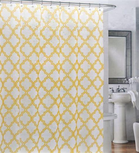 yellow shower curtain yellow quatrefoil trellis lattice shower curtains