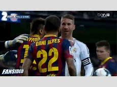 El Clasico Barcelona and Real Madrid fight, scuffle GIF