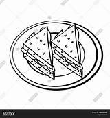 Sandwiches Colorare Panini Dish Drawn Sketch Vector Hand Bozzetto Mano Nel Piatto Isolato Nero Bianco Isolated Vettoriale Coloring Illustrazione Fumetto sketch template