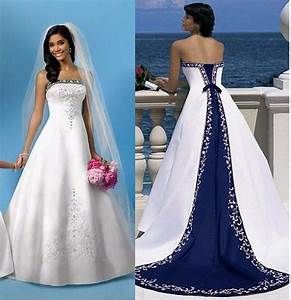 popular royal blue and white plus size wedding dresses buy With order wedding dress online