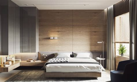 Concrete Feature Wall Panels Artful Design Ideas For Bedroom by 木墙设计 30个运用木材的完美醒目的卧室设计