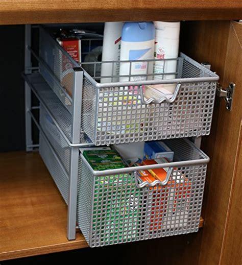 DecoBros Mesh Cabinet Basket Organizer, Silver (Large   10
