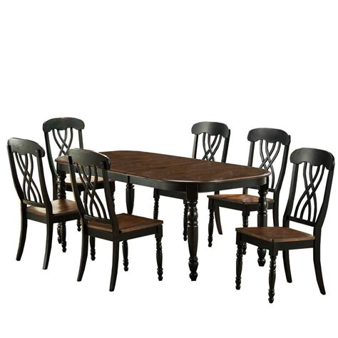 home depot dining room ls 7 piece black dining set 401393bk 78 7pc the home depot