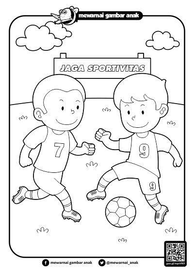 mewarnai gambar anak mewarnai gambar bermain sepak bola