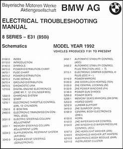 1992 Bmw 850i Electrical Troubleshooting Manual Original