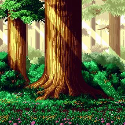 Pixel Forest 8bit Animation Background Backgrounds Tree