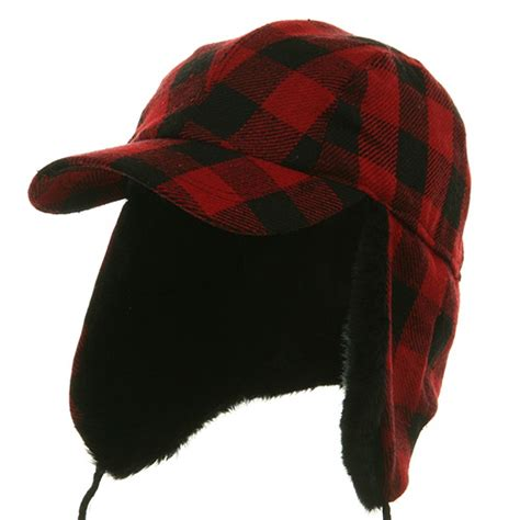 headband ear warmer buffalo plaid cap trapper cap
