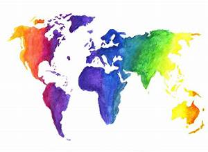 Watercolor World Map Illustration Earth in Rainbow Colors ...