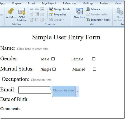 create user entry forms  word