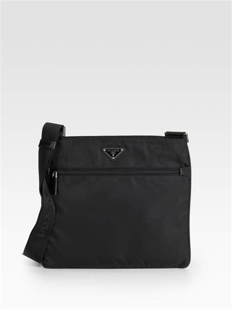 prada nylon leather messenger bag  black  men lyst