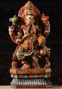 Sold Yosiah Wooden Dancing Ganesha Sculpture 24 U0026quot    76w1lm