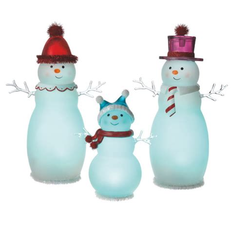 lighted medium snowman family acrylic lighted figurines