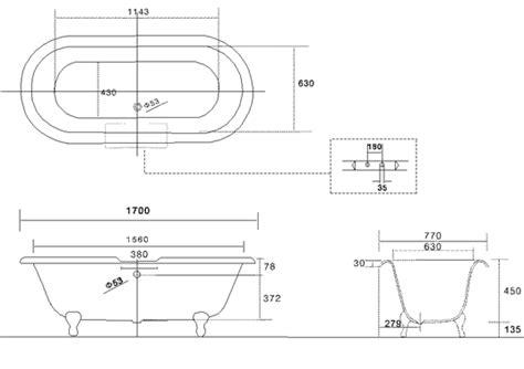 width of tub bath details for sterlington standard roll top