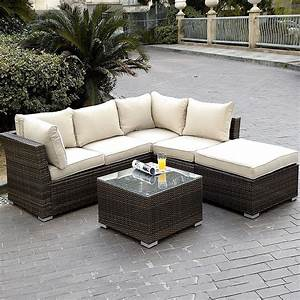 Giantex 4pc wicker rattan outdoor sectional sofa set for Sectional sofas for outdoor