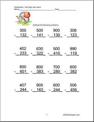 worksheets subtraction  digits set  abcteach